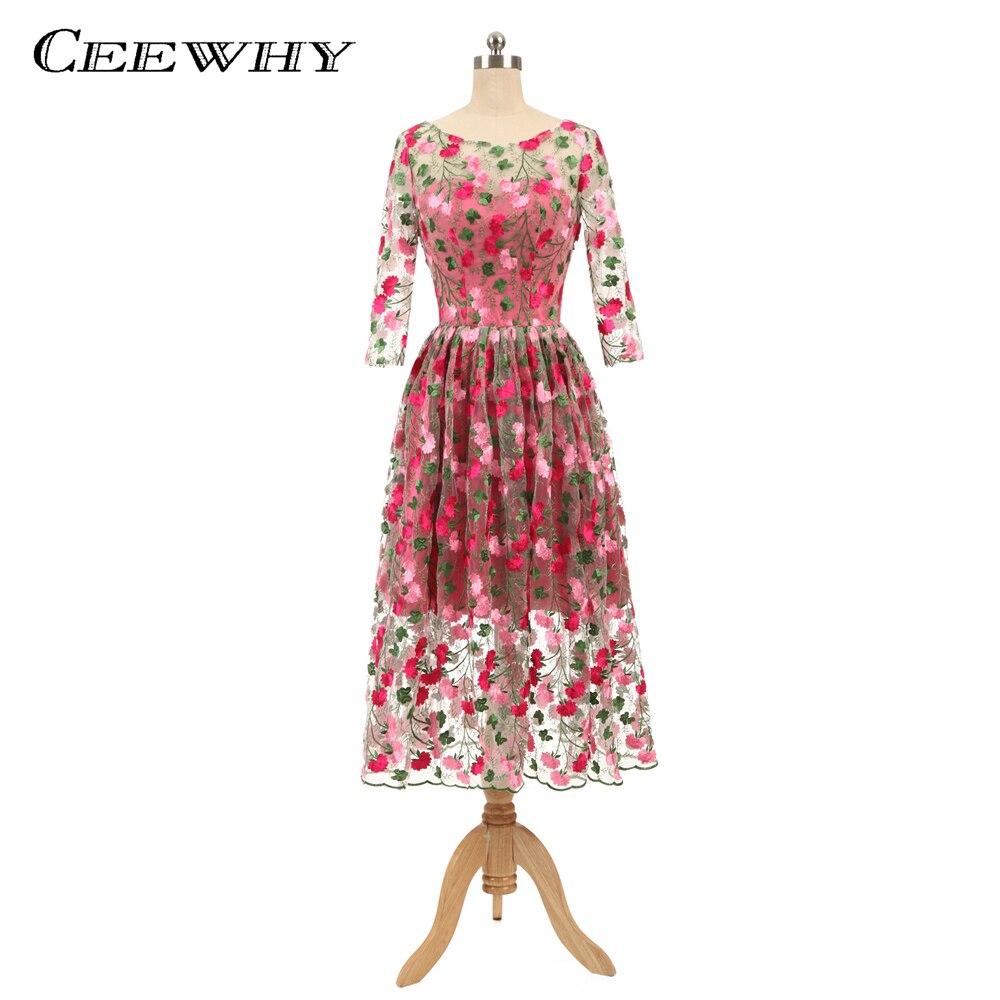 Ceewhy Elegant Floral Embroidery Formal Dress Vintage Prom -3804