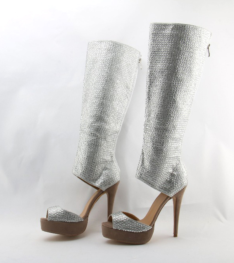 New Bling Bling Open Toe Rhinestone High Platform Gladiator Boots Cut out  Knee High Cube Crystal High Heel Boots Dress Shoes-in Over-the-Knee Boots  from ... f1d0a8f70e10