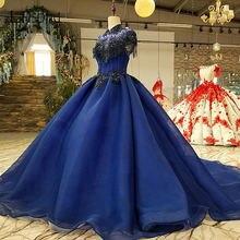 Королевский синий вышитые бисером вечерние платья на выпускной