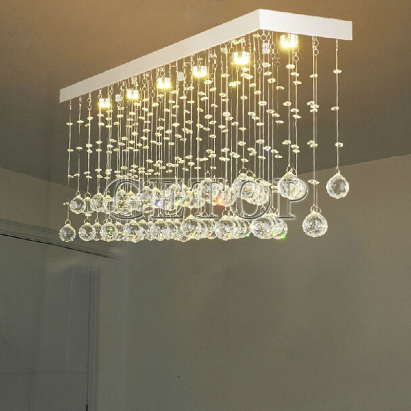 Z Modern Rectangular Chandeliers K9 Crystal Lamp LED Wave Crystal <font><b>Light</b></font> <font><b>Bar</b></font> Restaurant Living Room <font><b>Lights</b></font> GU10 Bulbs Included image