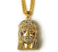 Hip Hop Punk style crystal Hippy Jesus head cross Pendant Necklace jesus christ Bling Chain Necklace Jewelry men