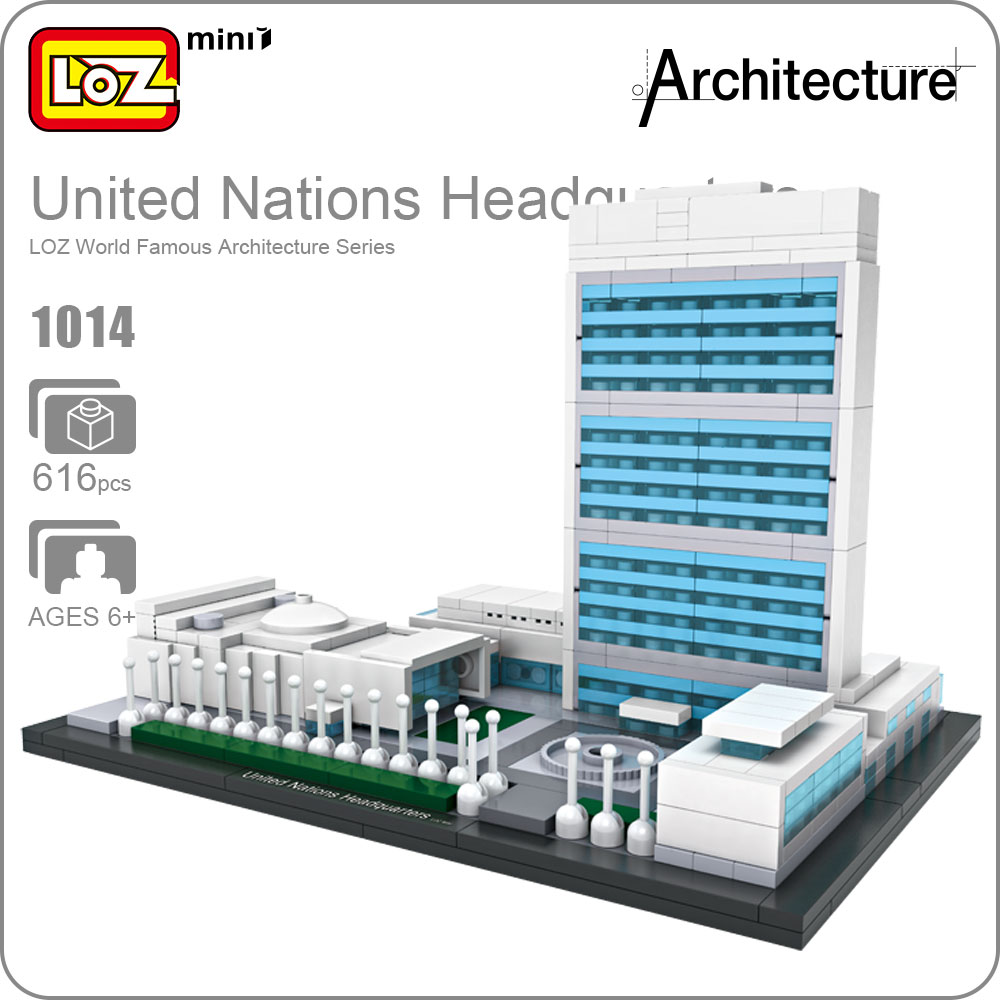 LOZ Mini Blocks United Nations Headquarters Toy Brick Plastic Famous Building House Architecture Model DIY Gifts For Kids 1014 loz lincoln memorial mini block world famous architecture series building blocks classic toys model gift museum model mr froger