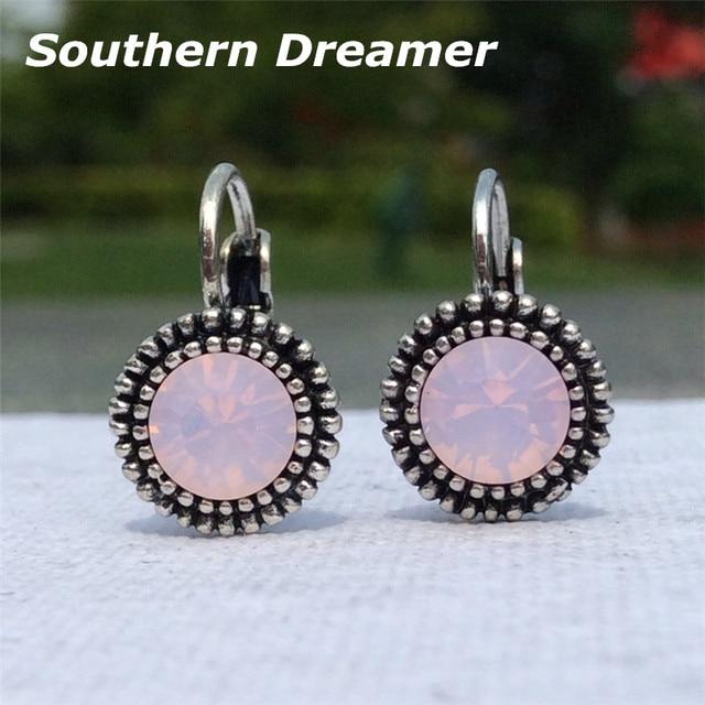 4dc7591d12c 3 color caliente pequeño aros Pendientes para las mujeres ronda verde rosa  claro Piedras plata antigua