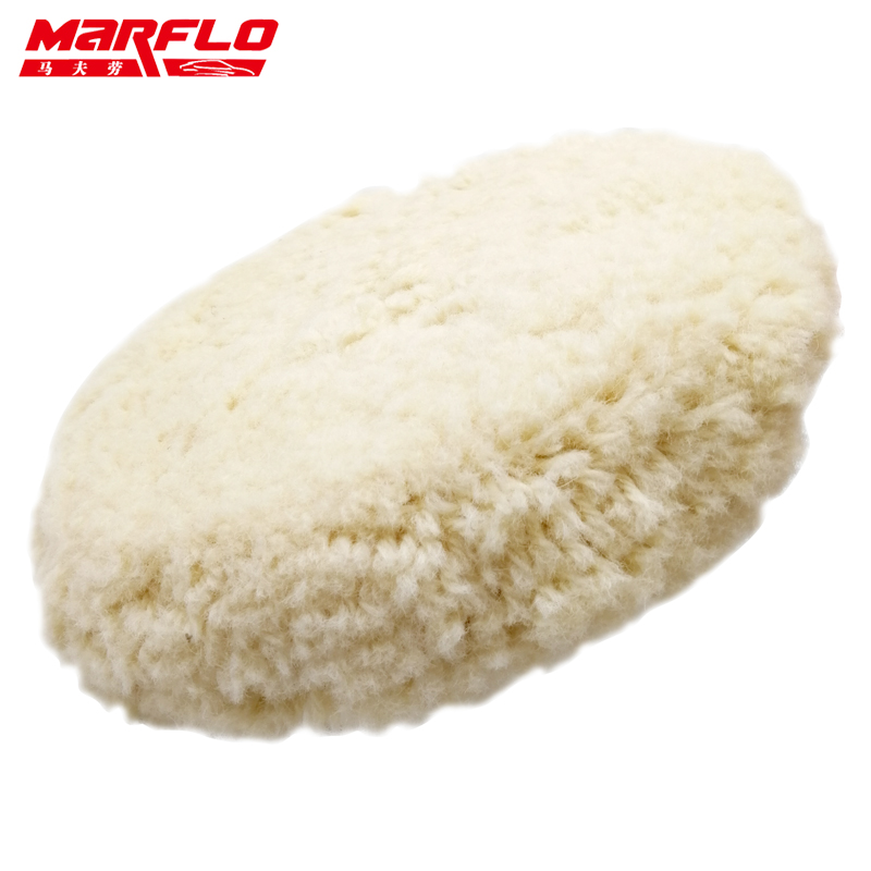"""Marflo 8"""" inch Soft Wool Polishing Buffing Pad for Scratch Removal with Wax Car Compounds Auto Polisher"""