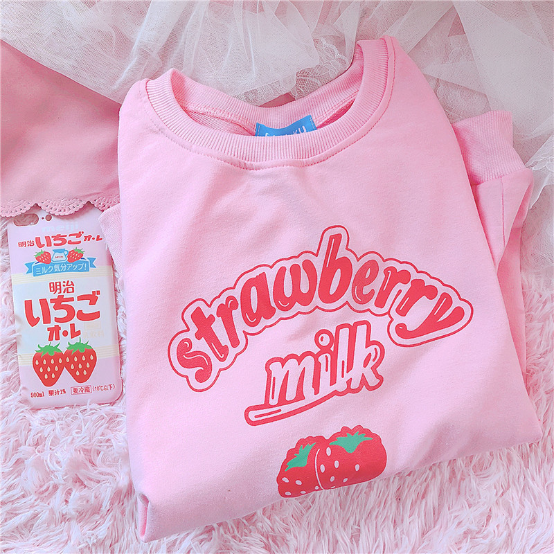Harajuku Kawaii Strawberry Milk Hoodie Sweatshirt Tops Women Kpop Lolita Style Strawberry Sweatshirts Schoolgirl Streetwear