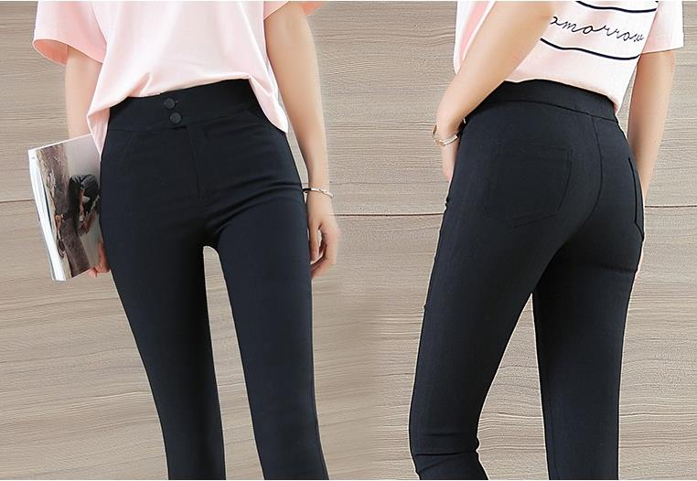 Women Pencil Trousers Skinny Pants Spring Autumn&Winter, Plus Size High Waisted Ladies Pants, Fleece Black JX59 inc international concepts plus size new charcoal pull on skinny pants 14wp $59