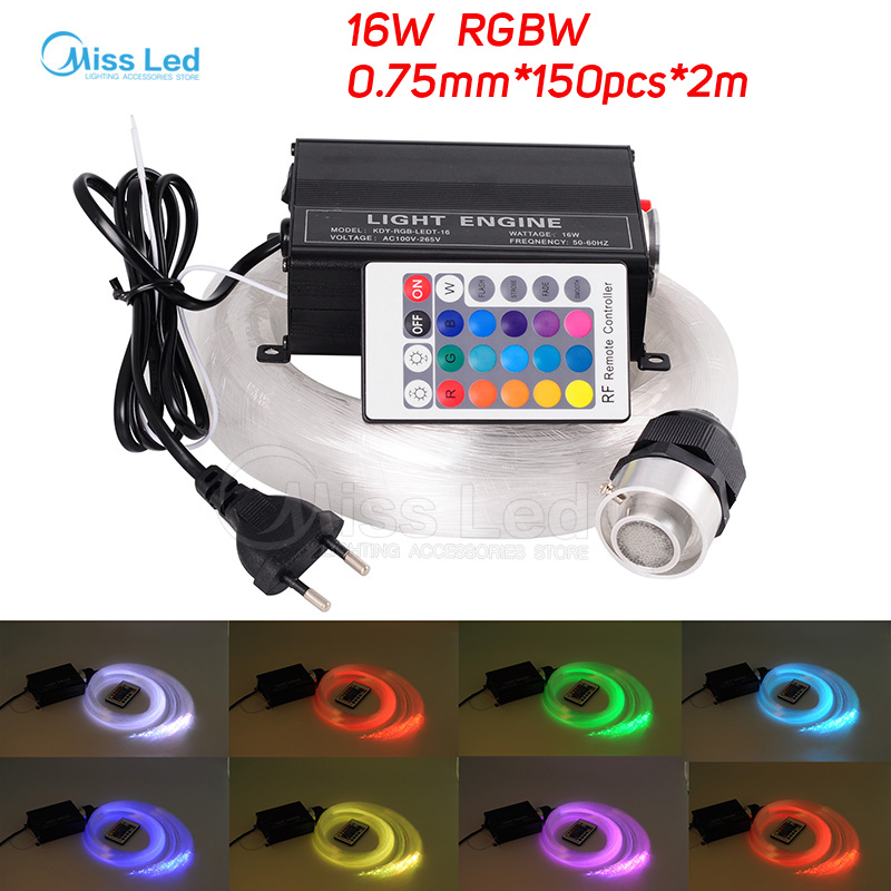 16W RGBW engines150pcs*0.75mm*2M LED Fiber optic light Star Ceiling Kit Lights optical lighting+RF 24key Remote 16w rgbw 200pcs 1 0mm 2m led fiber optic light star ceiling kit lights optical lighting rf 24key remote engine 5pcs crystal