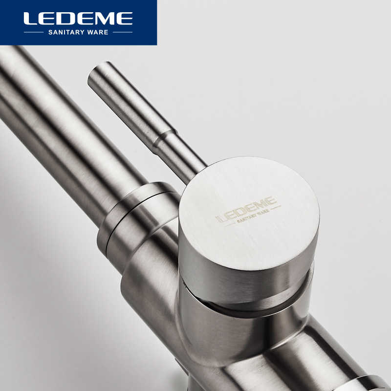 LEDEME bateria kuchenna z filtrowana woda podwójna wylewka oczyszczanie wody kran kuchenny ze stali nierdzewnej bateria zlewozmywakowa żuraw L4355-3