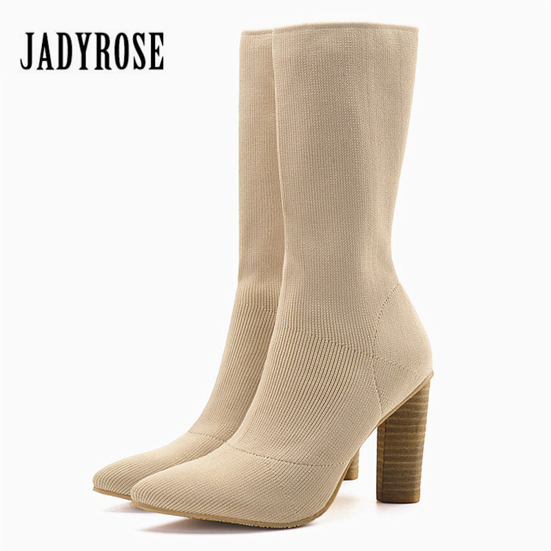Jady Rose Stretch Fabric Autumn Booties Chunky High Heels Pointed Toe Ankle Boots Knit Sock Rubber Women High Boot Women Pumps