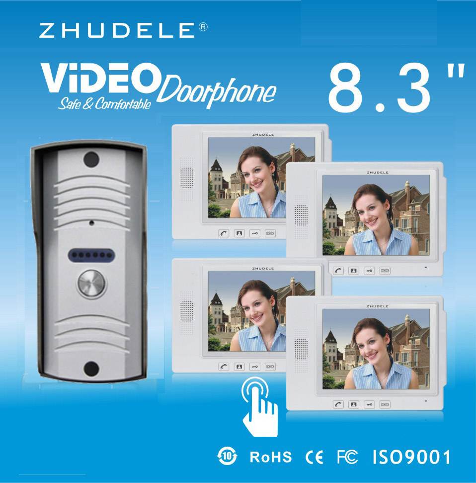ZHUDELE Luxury 8.3Display Wired Video Door Phone Touch Key Doorbell&IR 700TVL HD Home Security CCD Camera 1V4 Security Intercom