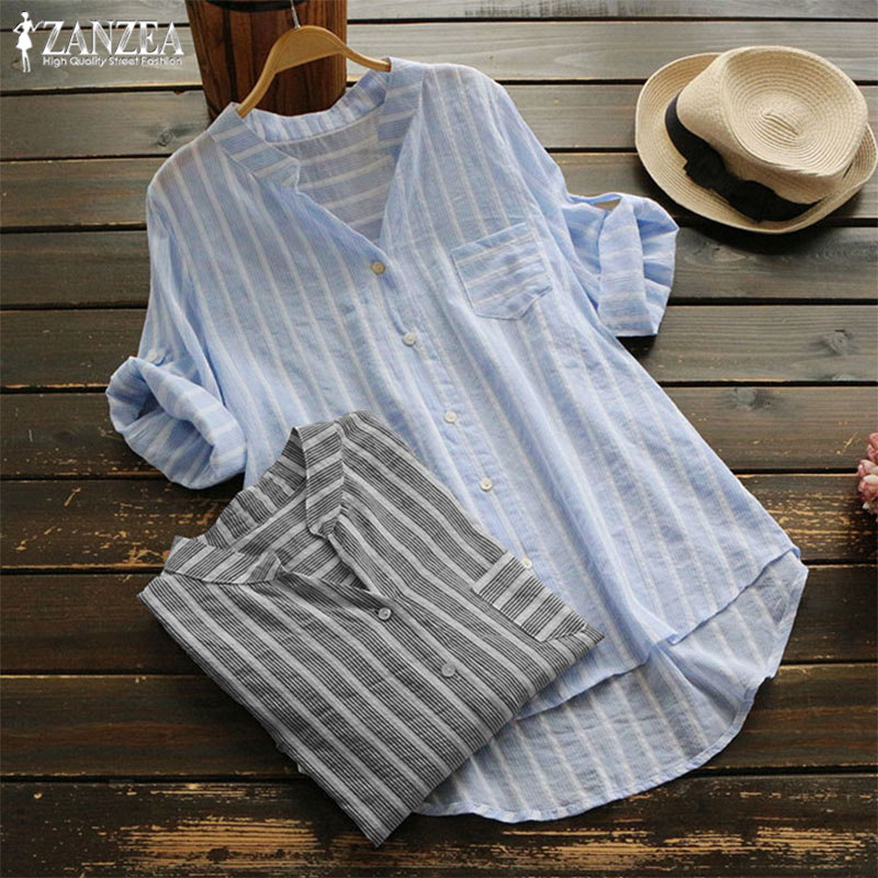 2019 ZANZEA Plus Size Striped Tops Womens Cotton Blouse Fashion 3/4 Sleeve Shirts Femlae Button Down Blusas Female V Neck Tunic