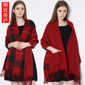 Imitation cashmere grid tassel pocket students double-sided thickening ponchos in the fall and winter of women scarves shawls
