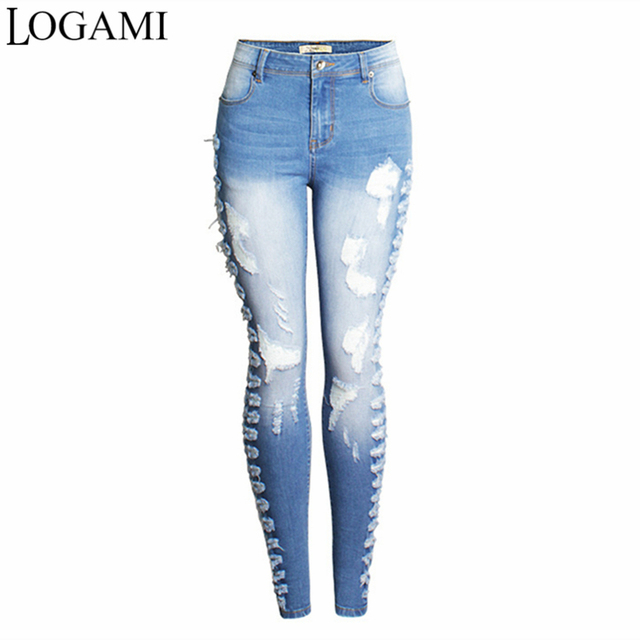 4264b03b496d45 LOGAMI Ripped Jeans For Women Sexy Skinny Jeans Woman Slim Jean Destroyed  Mujer Light Blue