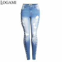 LOGAMI Ripped Jeans For Women Sexy Skinny Jeans Woman Slim Jean Destroyed Mujer Light Blue