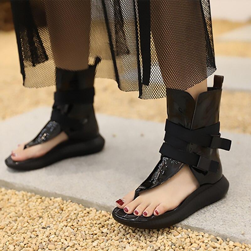 [EAM] 2019 nueva primavera verano Pu cuero negro hueco hebilla personalidad mujeres accesorios moda todo-fósforo JW278 - 3