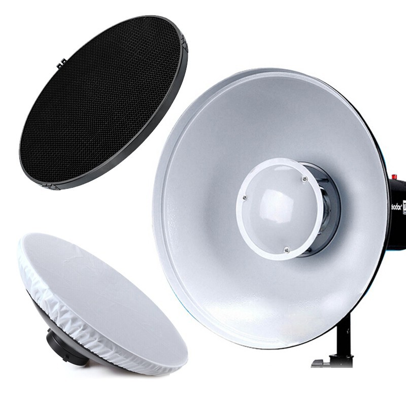 Godox Beauty Dish Silver 42cm / 16 Honeycomb Grid Bowens Mount w/ Diffuser for Flash Strobe free tax to russia new 42cm godox ad s3 beauty dish with grid for witstro speedlite flash ad180 ad360