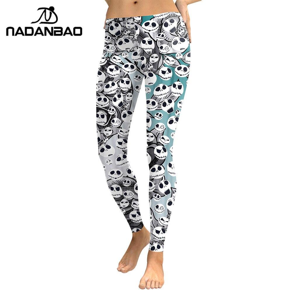 NADANBAO Jack Skellington Leggings Halloween Ghost Leggin Digital Print Skeleton Fashion Leggins Fitness Workout Plus Size Pants