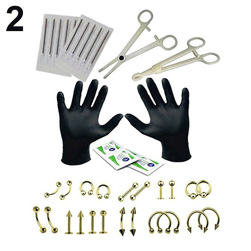 Professional Body Piercing Tool Kit  Nose Belly Button Body Jewelry Ear Nose Navel Nipple Stainless Steel Needles Set Facial Kit