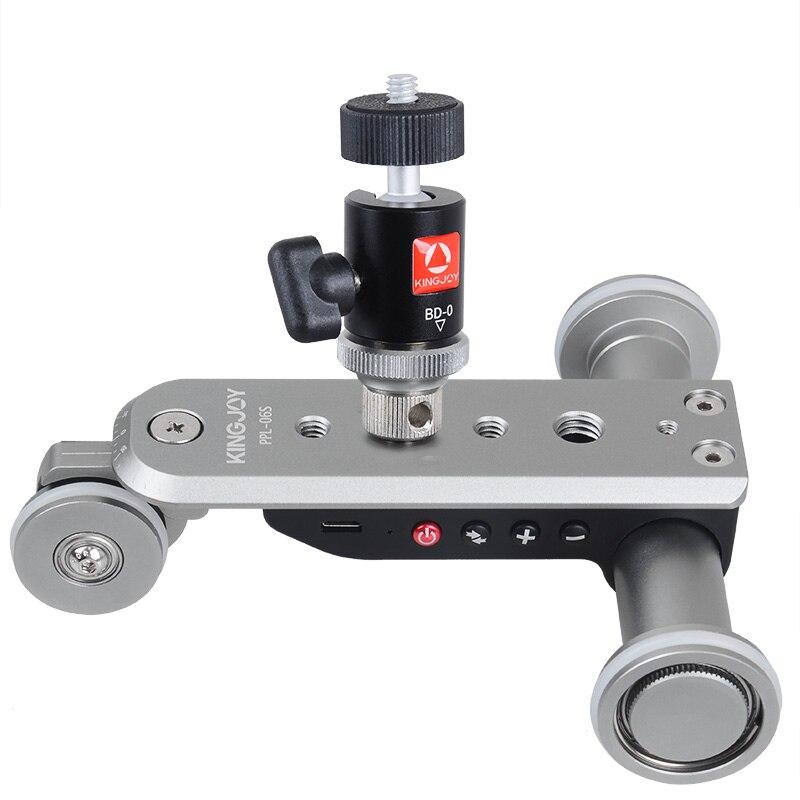 Kingjoy PPL-06S Mini Aluminiumlegierung Motorisierten Elektro Track Slider Motor Dolly Lkw 3-rad Auto Slider für Kamera Camcorder
