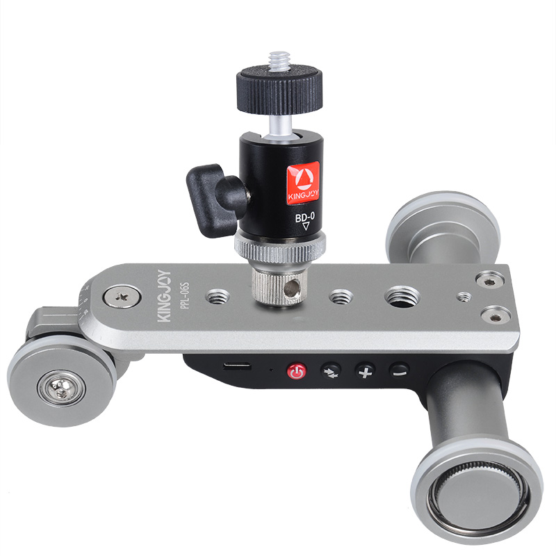 Kingjoy ppl-06s mini aleación de aluminio Motores ized slider de pista eléctrica Motores Dolly Truck 3 ruedas coche Slider para cámara videocámara