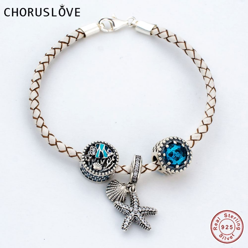 Choruslove Italian White Braided Leather Bracelet with Oceanic Starfish Charm 925 Sterling Silver Lobster Clasp SJ2001 starfish