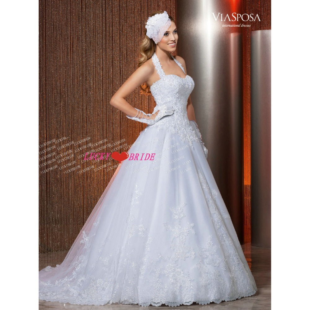 W127 Free Shipping A Line Halter Bridal Gown With Sequins Detachable Train Corset Back All Lace Wedding Dress Beading In Dresses From Weddings