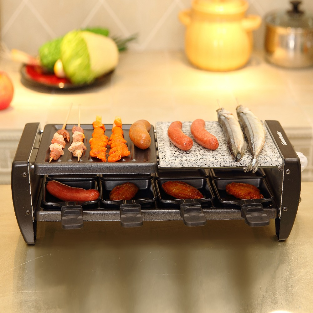 Homeleader Electric Korean Grill with Nature Tone, Smokeless Grill Machine for Family/Party/Outdoors Picnic Black K45-021