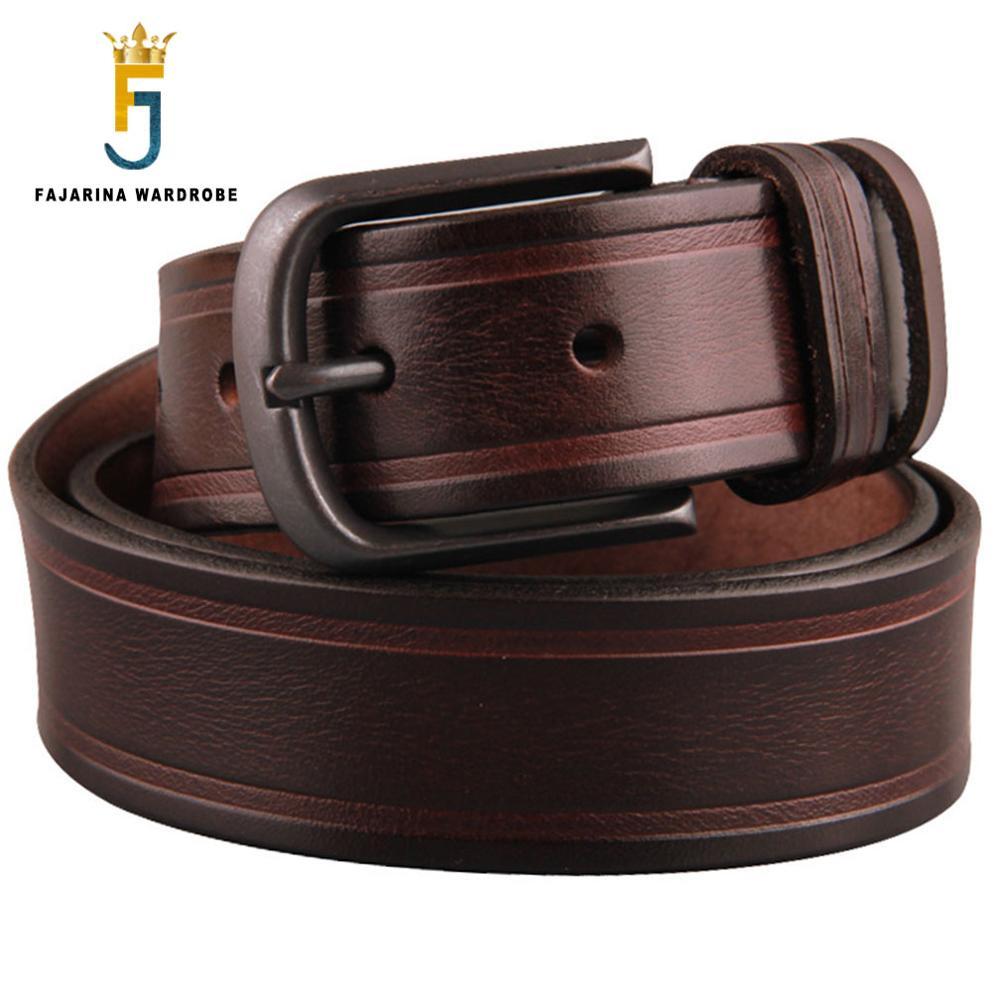 FAJARINA Unisex Retro Styles Quality Genuine Belts Female Pin Buckle Belt for Men Male Cow Skin