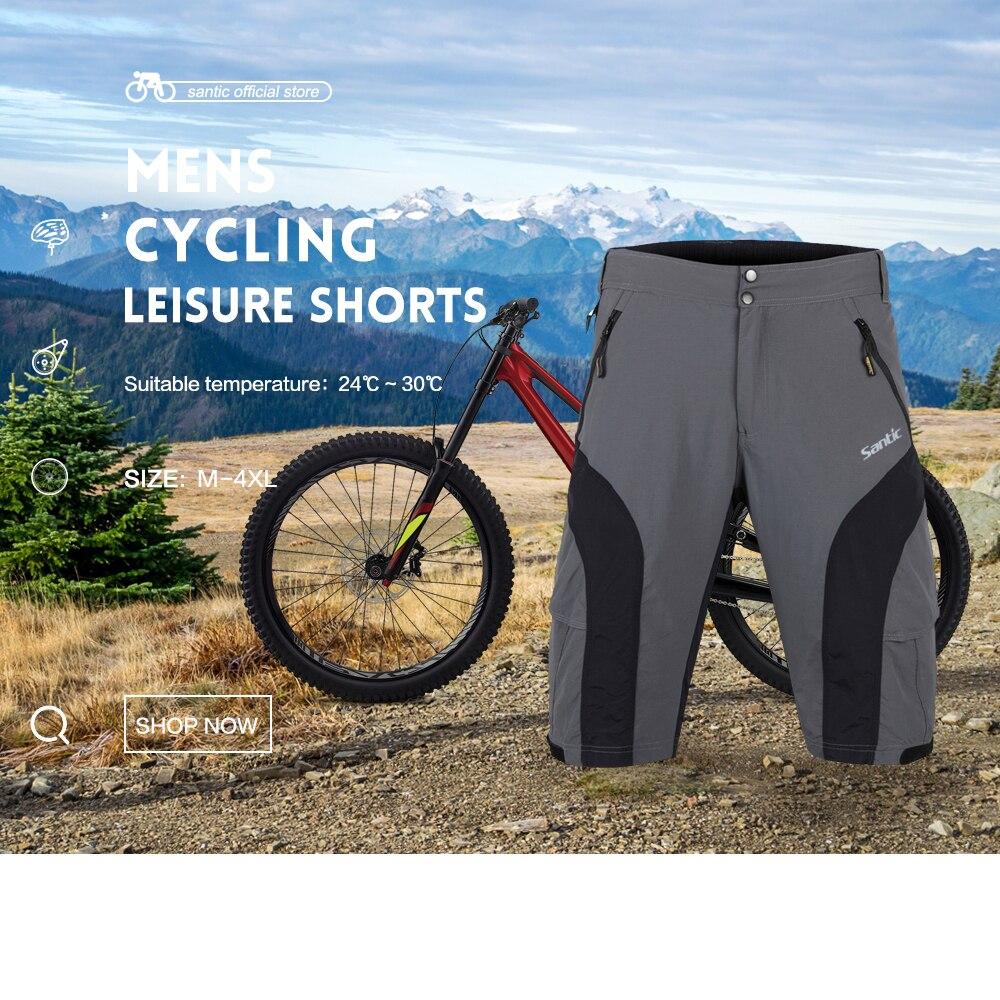 Santic Men Cycling Baggy Shorts Removeable Padded Bike MTB Cycling Clothing Outdoor Shorts MC05043