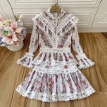 Baogarret Fashion Designer Runway Women Two Piece Set Vintage Flare Sleeve Flower Print Shirt Top + Mini Skirt Suit Twinset