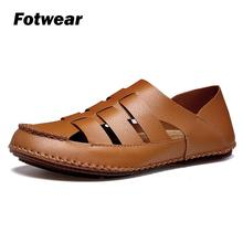 Fotwear Mens Leather sandals casual shoes Outdoor Classic Men Soft Comfortable Summer Shoes Flip Flop