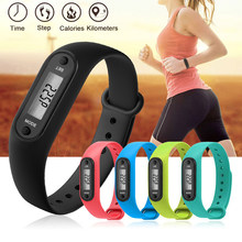 Digital LCD Silicone Wrist band Pedometer Run Step Walk Distance Calorie Counter Wrist Adult Sport Fitness Multi-function Watch(China)