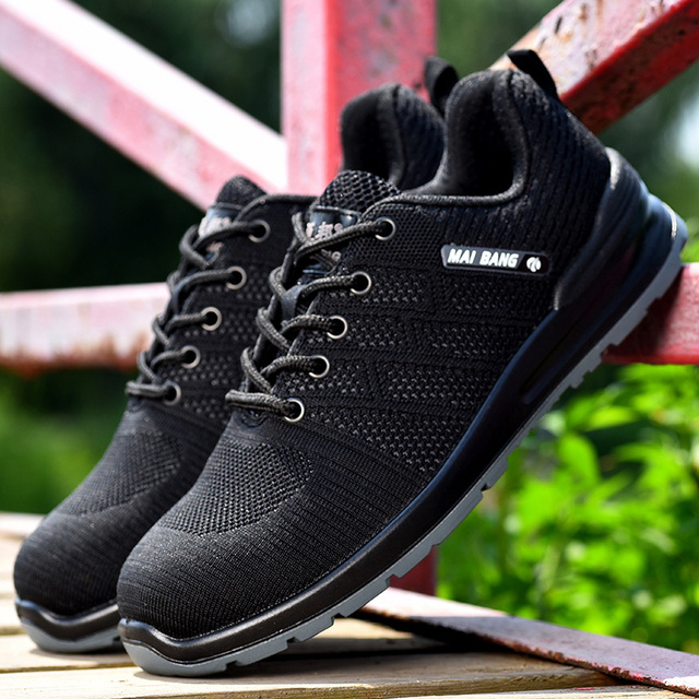 Safety shoes men light anti-smashing boots anti-puncture steel toe safety boots work shoes breathable leisure bot