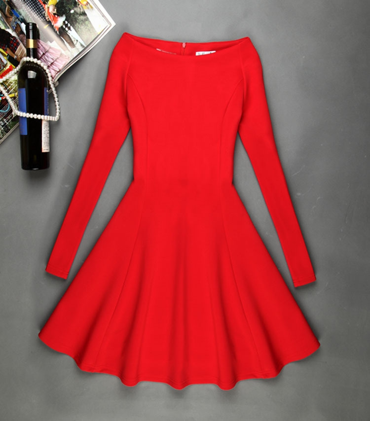 Autumn Winter Skater Dress Elegant Women Short Mini Black Red Party