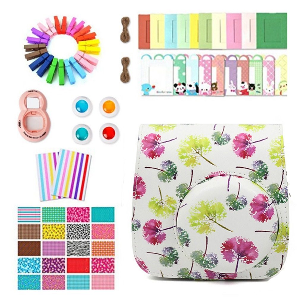 7 in 1 Accessories Set Ginkgo / Travel Photo Frame Stickers Camera Bag Wall Frame Clip with Rope for Fujifilm Instax Mini 8 9