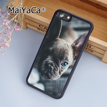 MaiYaCa French Bull Dog Blue Eyes Cute Puppy Soft Rubber cell phone Case Cover For iPhone 7 phone cover shell(China)