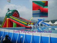 Water Park Swimming Pool Inflatable Water Slide For Sale