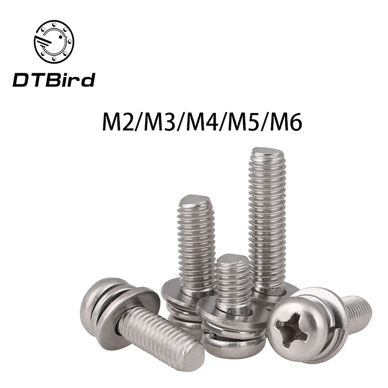 Carbon steel Nickel-plated round head Three combination screw M2 M3 M4 M5 M6 screws 2017 hot sale free shipping iso7380 304 stainless steel round head screw m3 m4 m5 m6 screws hex socket screw three combination 2018 hot
