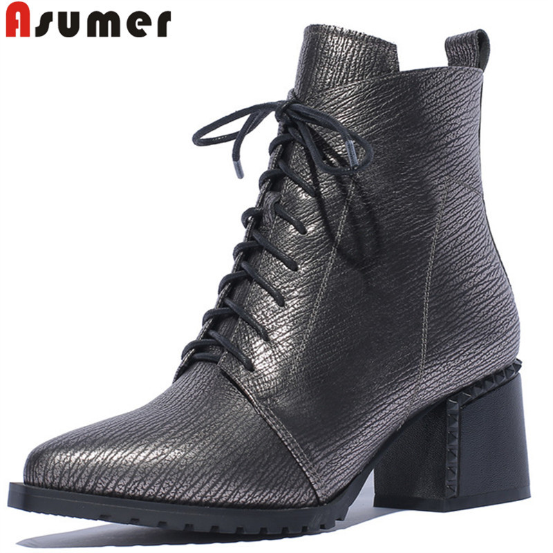 ASUMER 2018 autumn new shoes woman boots pointed toe ladies ankle boots lace up genuine leather boots high heels shoes big size цена 2017