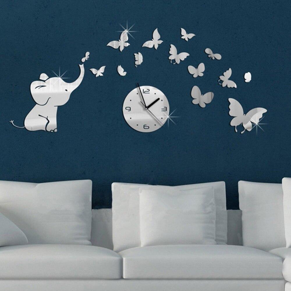3D DIY Wall Clock Sticker Art Decoration Elephant Butterflies Mirror Wall Decal