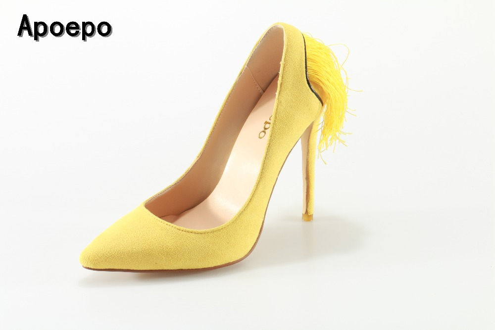 Apoepo Hot selling yellow suede fringed high heel shoes pointed toe thin heels woman pumps slip-on stiletto heels sexy shoes womens shoes high heel woman pumps spring autumn basic silk slip on pointed toe thin heels sexy wedding shoes ljx04 q