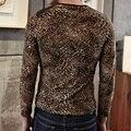 С длинным Рукавом Leopard Сращивания Кожа Мотоцикл Футболка Homme Т футболка Мужская Футболки Мода 2017 Хип-Хоп Мода Бренд Clothing