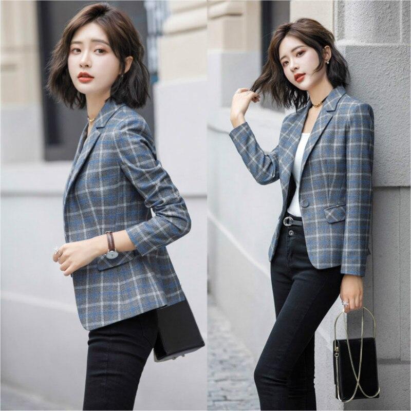 Plaid suit suit female spring and autumn 2019 New Korean ladies fashion Slim trousers casual two-piece set Women clothes Suits
