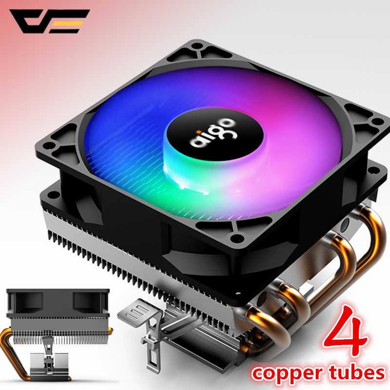 Aigo CPU Cooler Cooling DP Mulai dari 280W 4 Heatpipe CPU Fan 3Pin PC Pendinginan 90 Mm Fan Radiator Heatsink/ 115X/775/1366/AM2 +/AM3 +/AM4/2011