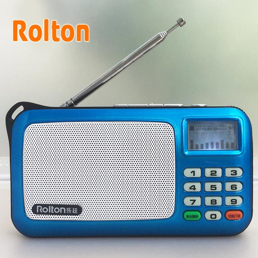 Rolton W505 Mini Sokongan Peti Portable TF Card MP3 WAM WAV FM Radio Fon telinga Fon telinga LED Light Record Bunyi Kolum