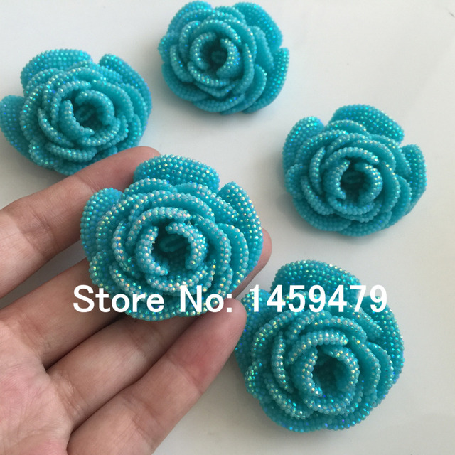 New 3D Flowers Large Resin Water Blue AB Color Stick-On Crystals  Rhinestones DIY Craft art Accessory Stones 4pcs 47mm 01ea38f58ab9
