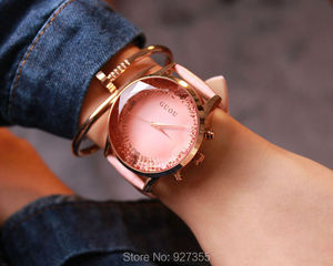 Image 4 - 9 Colors Hot Luxury Watches Women Large Dial Wristwatches Genuine Leather  Lady Dress Watch Women Rhinestone Watch Fashion Hours