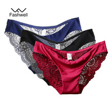 New Sexy Lace Plus size Women Panties Briefs Solid Seamless low rise Lingerie Underwear S-XXL 3 pieces/lot(China)