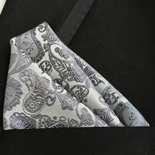 Lingyao Luxury Pocket Square High Quality Woven Handkerchief Silver Grey Paisley Handky For Wedding