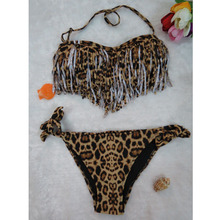 Women Bikini Set leopard print Sexy swimwear tassels lady Swimsuit swimming wear Swimwears push up Bandeau Beachwear